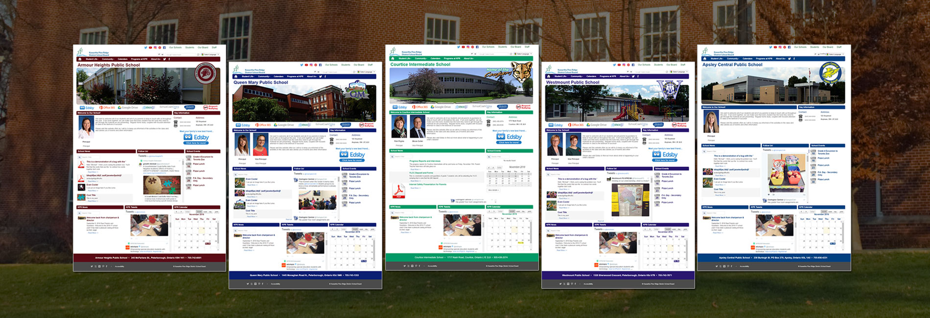 Image showing several web pages to highlight design consistency in Websby